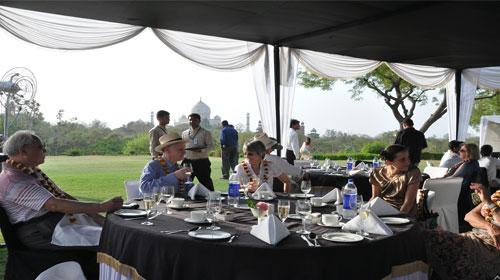 Champange Breakfast overlooking Taj Mahal