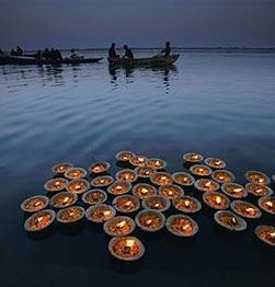 Sunset candle flower ceremony- Varanasi