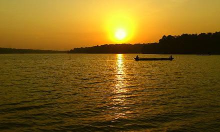 Sun set on the Ashtamudi lake